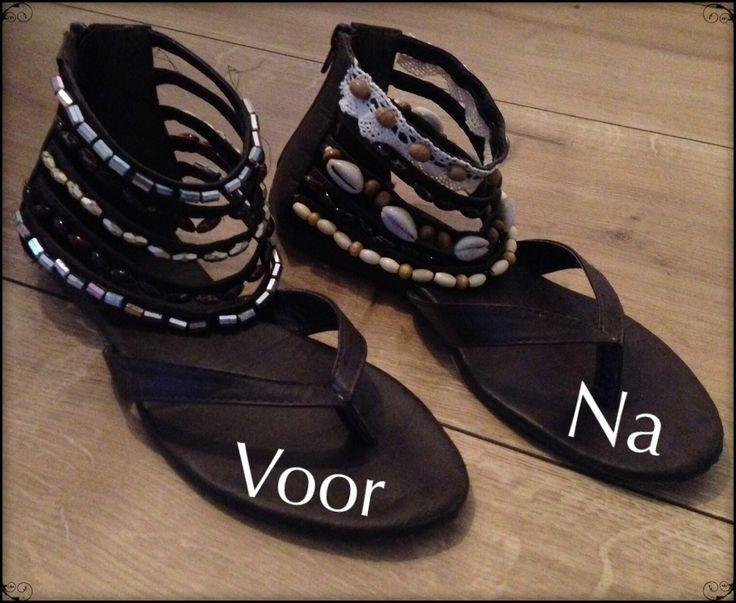 Pimp je oude sandalen in Boho-ibiza stijl met schelpjes, kant, kralen etc.