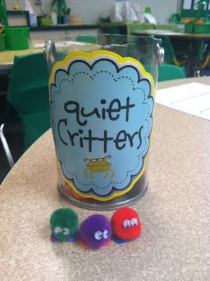 "Basically, you make the quiet critters with a pom-pom, heart-shaped foam piece (for the feet) and mini wiggle eyes. I tell my students that my ""quiet critters"" need a friend to take care of them, but they only can survive/like QUIET friends. GUESS WHAT? Instantly quiet class. The kids love them. My kids have named their quiet critters and made homes for them."