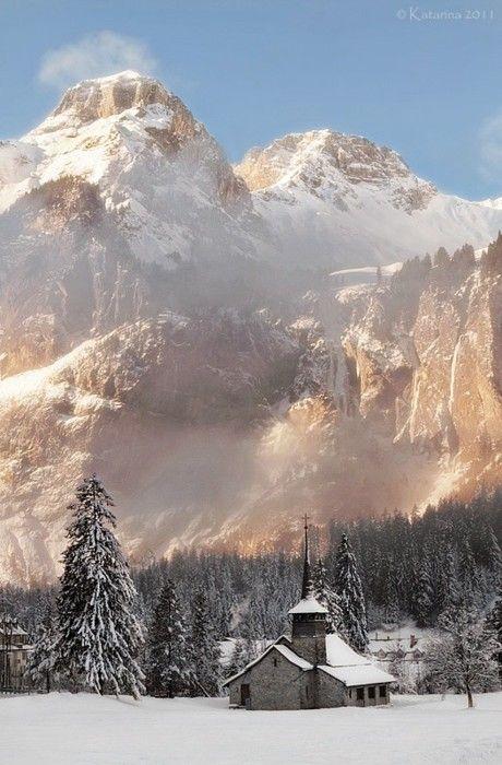 Switzerland: Mountain, Church, Nature, Beautiful Places, Winter Wonderland, Travel, Photo