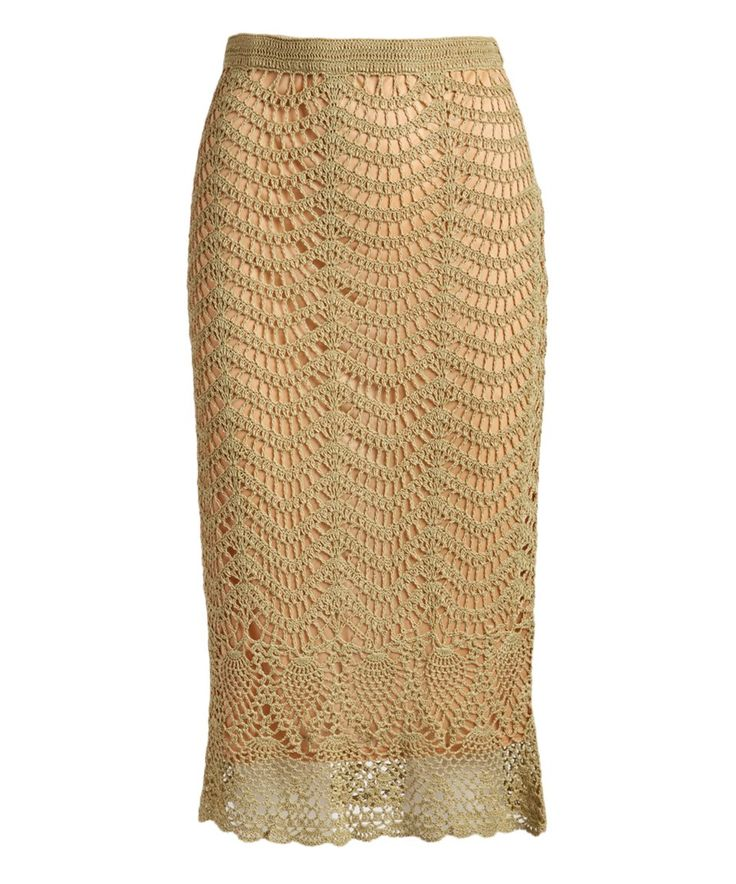 Take a look at this Khaki Lace Trumpet Skirt today!