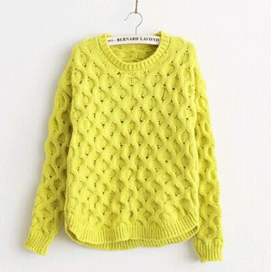 Autumn And Winter Retro Twist Fluorescent Green Argyle Pullover Crewneck Long Sleeve Knit Sweater Women WDM26-in Pullovers from Apparel & Accessories on Aliexpress.com