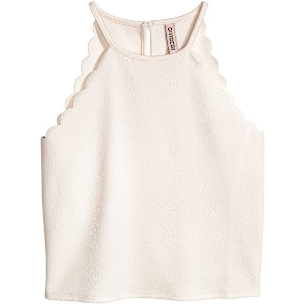 Top with Scalloped Trim $12.99 ($13) ❤ liked on Polyvore featuring tops, shirts, tank tops, crop top, short jersey top, white short top, short tops, scallop hem top and textured top