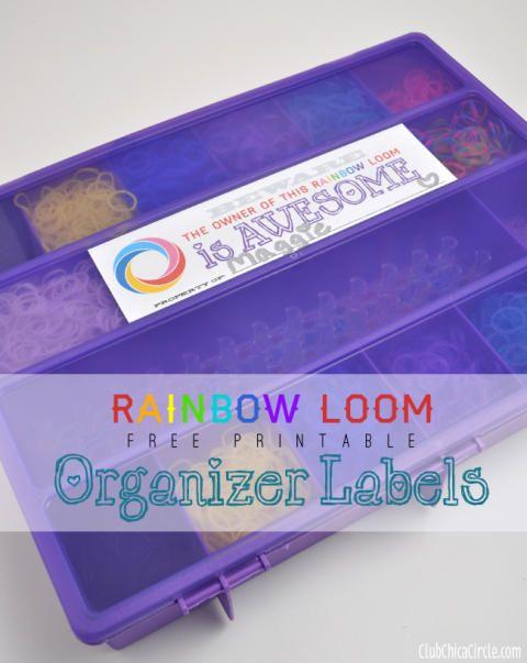 Rainbow Loom organizer free printable labels