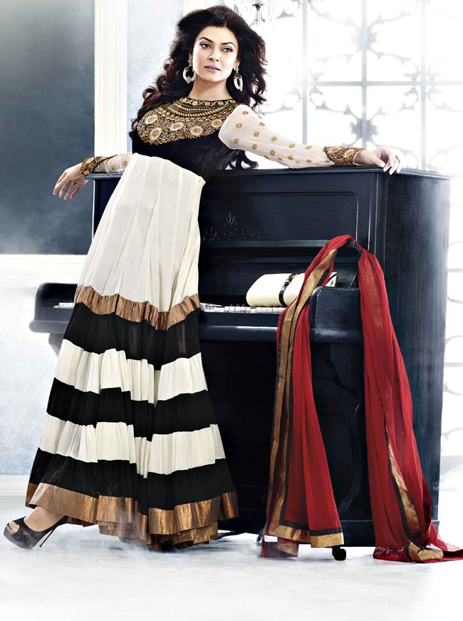 "Tiered Ankle Length Sushmita Sen Anarkali Suit  ||  ITEM CODE:-  SLRC 102  ||   PRICE:-  7,813/-  ||    Style: Anarkali Suit sleeve style: Sleeveless, Long Sleeve (18"" to 21"") size: 38"", 32"", 36"", 34"", 42"", 40"" occasion: Party, Wedding, Reception fabric: Faux Georgette color: Black, Off White Catalog No.: 1145 work: Embroidered, Resham"