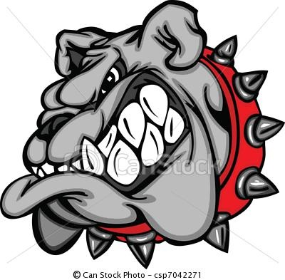 Vector - Bulldog Mascot Cartoon Face - stock illustration, royalty free illustrations, stock clip art icon, stock clipart icons, logo, line art, EPS picture, pictures, graphic, graphics, drawing, drawings, vector image, artwork, EPS vector art