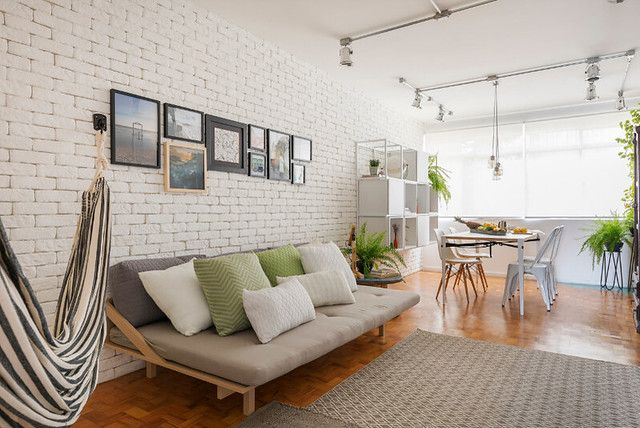 A Cozy Home That Embraces Brick Walls And Gives Us Hygge Goals Dress Your Home Brick Wall Interior Living Room Brick Wall Living Room White Brick Wall Living Room