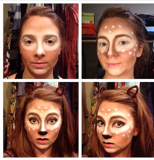 deer makeup ideas, deer costume. Halloween costume DIY.