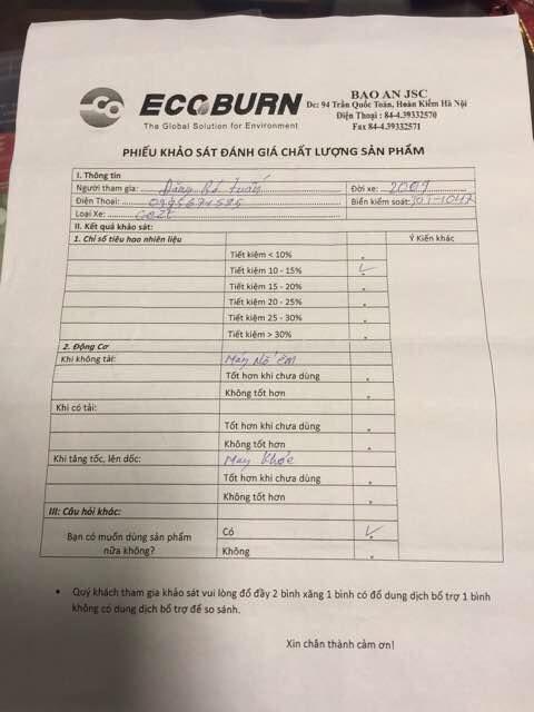 Ecoburn loại bỏ xử lý và ngăng ngừa muội than-carbon trong buồng đốt