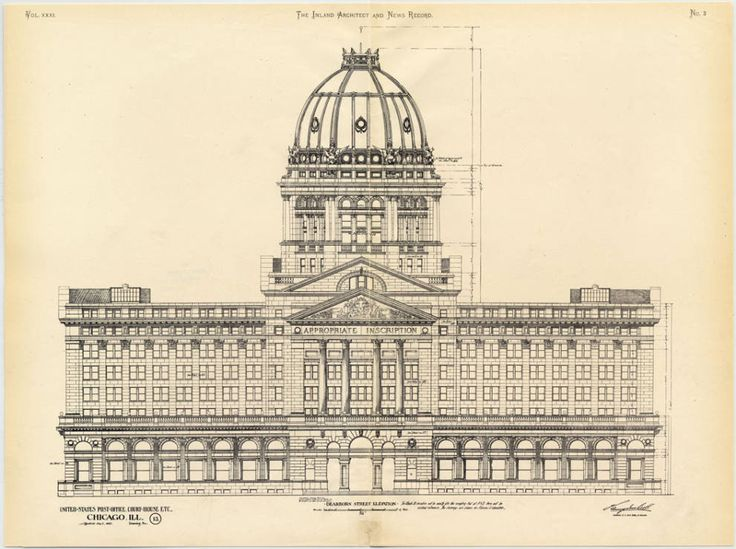 Architectural Drawing Of Old Chicago Federal Building C