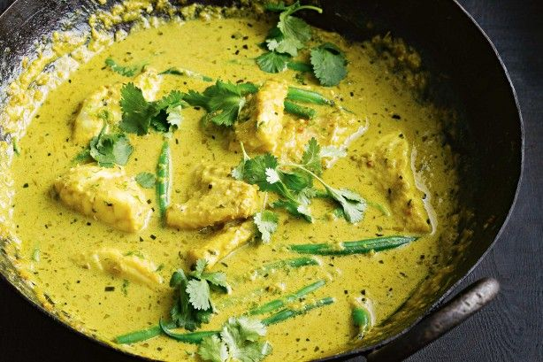 Kaffir lime leaves add aromatic Asian flavour, essential to this fish curry.