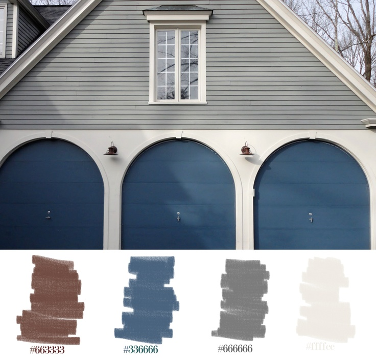 Cool Tones For Fall Home Exteriors Palette Blue Brown Grey White Exterior Paint Decor
