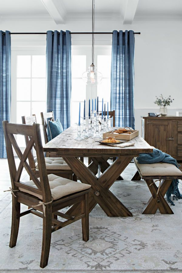Rustic Dining Set With Bench Extension Dining Room Table Creates Extra Space For Entertaining Solid Acacia An Minimalist Dining Room Rustic Dining Room Decor