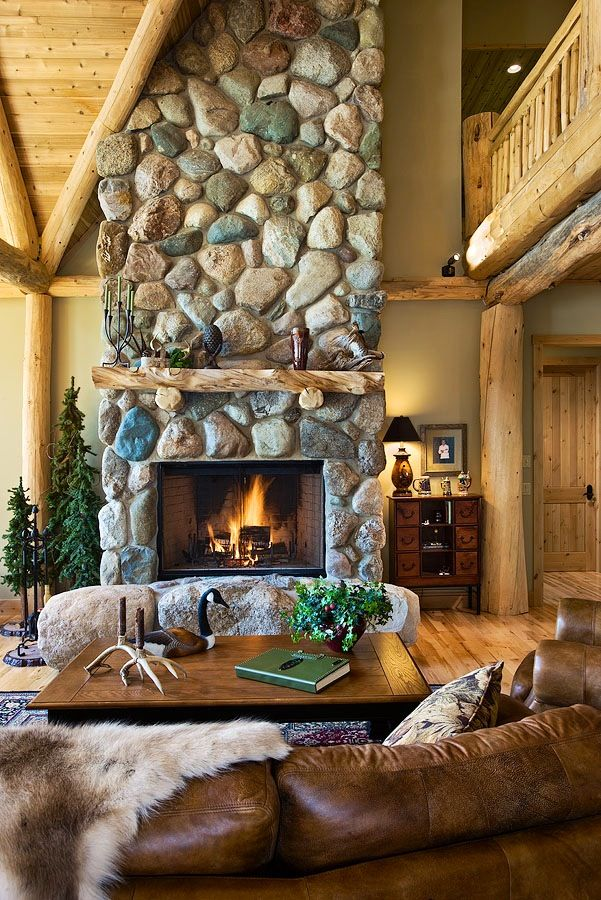 Cozy on a Grande Scale | A Lodge Style Log Retreat in Michigan Room for the Whole Family Gorgeous Log Home | Nice Stone Fireplace