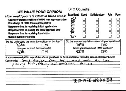 """""""Great service. Omni has always made the loan process fast, friendly and courteous. Thanks."""" - SFC Oquindle"""