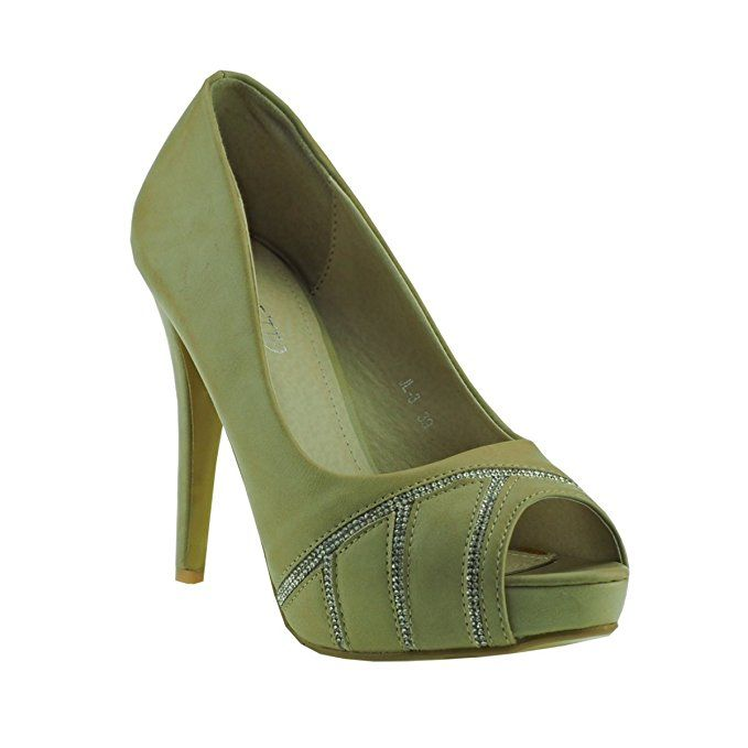 20040 Fashion4Young Damenschuhe Peeptoes Pumps Plateau High Heels Party Stilettos (EUR 36, khaki)