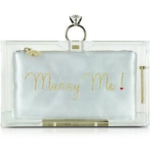 Charlotte Olympia Marry Me Pandora Clear Perspex Clutch Box