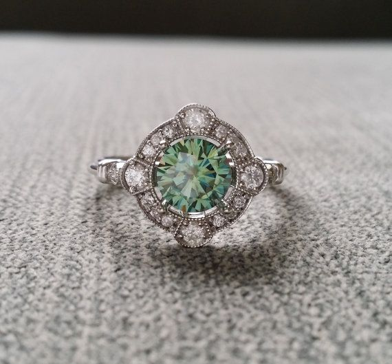 "Estate Halo Blue Green Moissanite Diamond Antique Engagement Ring Victorian Art Deco Mint Edwardian 14K White Gold ""The Charlotte"""