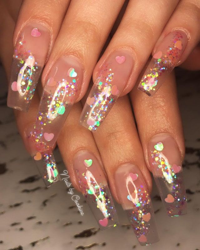33 Gorgeous Clear Nail Designs To Inspire You Clear Glitter Nails Jelly Nails Summer Acrylic Nails