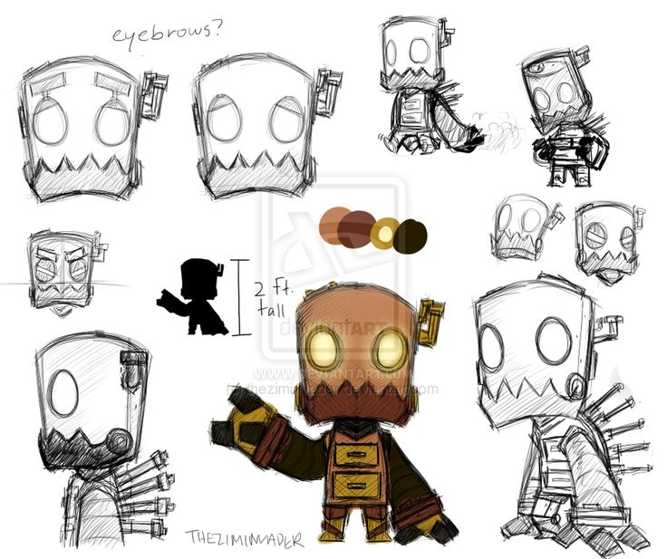 Robot character concept by theziminvader.dev… on…