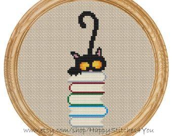 Cruz puntada patrón PDF gatos DD0026 por HappyStitches4You en Etsy