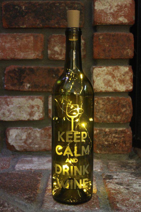 Keep Calm Wine Bottle Lantern Wine Fairy Light Bottle Cork Light Included Sparkle Night Light Magical Etching Twinkle Lantern Wine Bottle Lanterns Wine Bottle Bottle Lights
