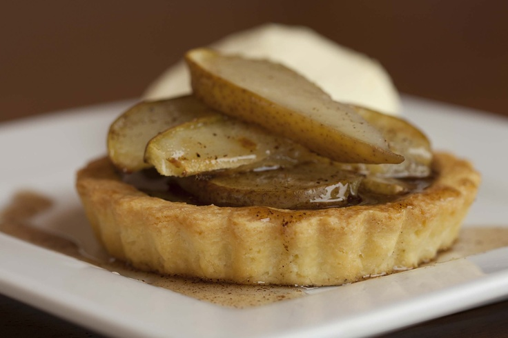 Pear Tart with Hazelnut Cinnamon Sauce. This is my own creation and is a bit of secret. It has won so many people over as a great dessert. Served with double cream it is sensational!
