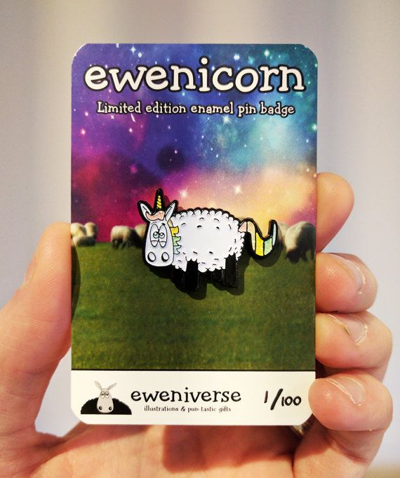Ewenicorn  enamel pin unicorn pin badge punny pin by Eweniverse