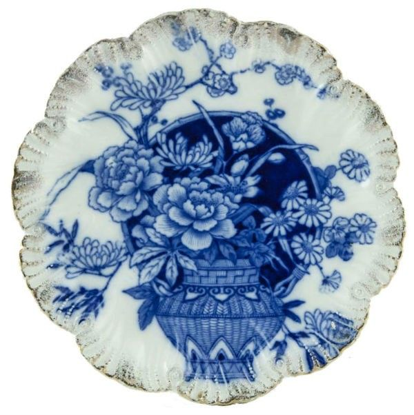 Blue & White Molded Plate with Peonies