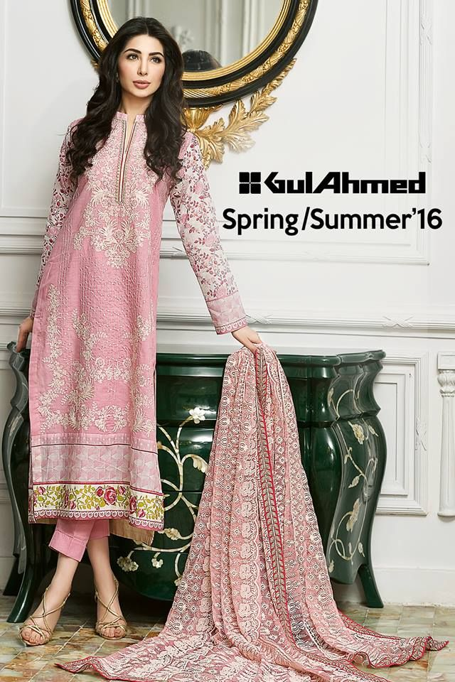 Gul Ahmed Summer Embroidered Lawn Dresses Collection 2016-2017