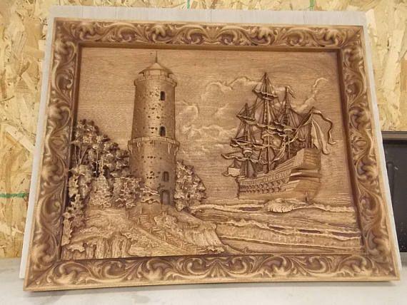 Old Sailing Ship Wood Carving Nautical Wall Decor Lighthouse