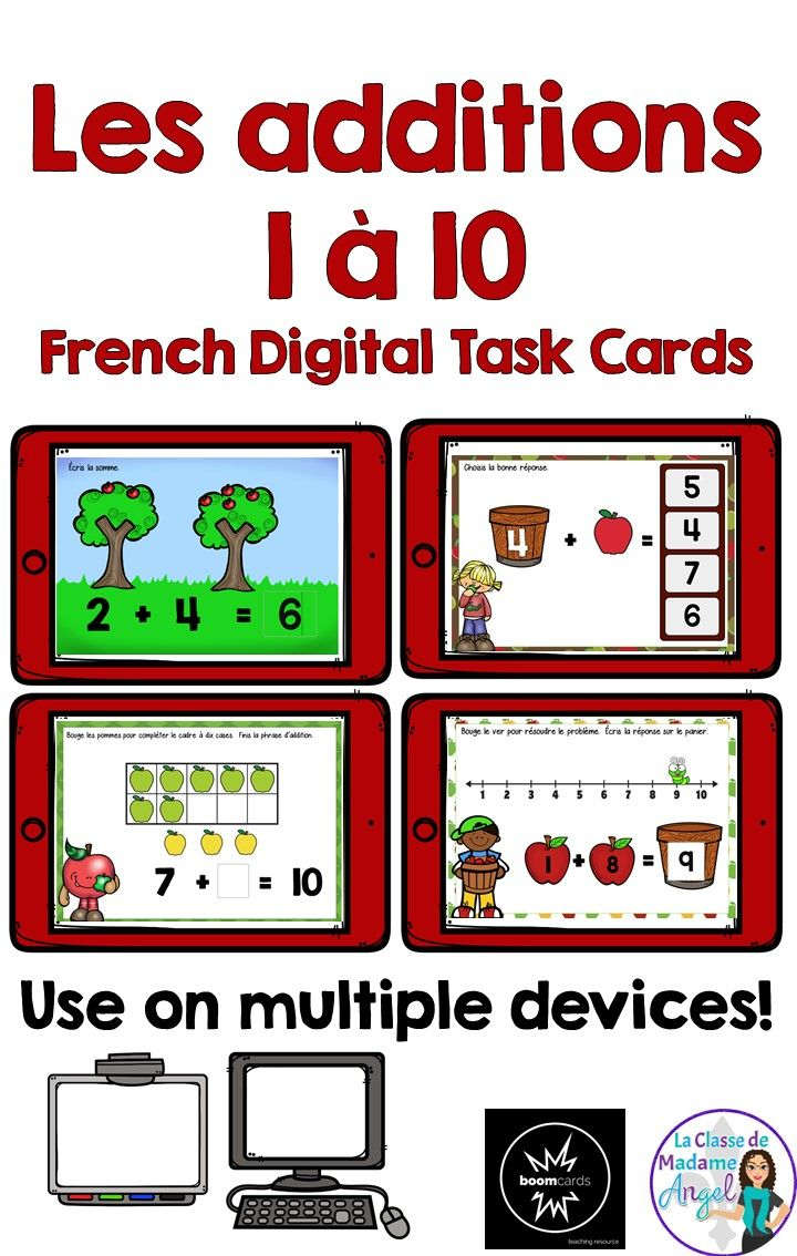 Les additions 1 à 10!  Practice addition facts in French with this set of interactive Boom cards.  Use on a variety of devices, students will practice addition strategies including making 10, counting on, counting pictures and using a numberline.