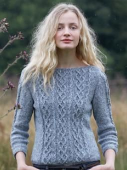 Cabled Three Quarter Sleeve Sweater FREE PATTERN ♥ >2750 FREE patterns to knit ♥ GO TO: pinterest.com/.... for more than 2750 FREE patterns to KNIT