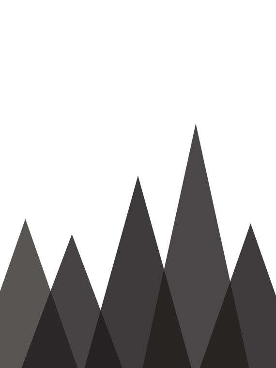Geometric Mountain Print Black and White by MelindaWoodDesigns