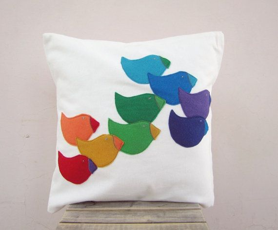 Colorful modern pillow rainbow bird eco felt appliques by EarthLab