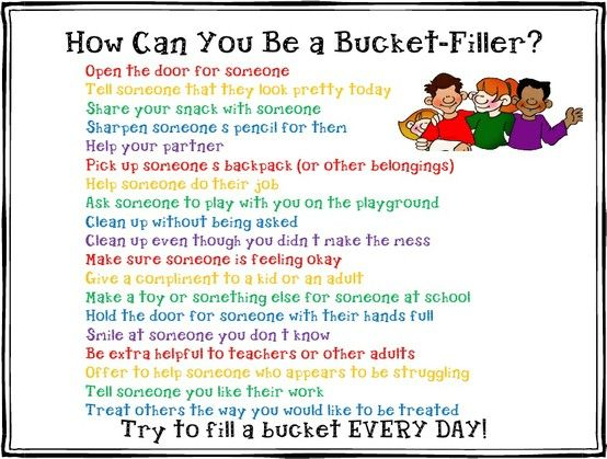 bucket filling ideas - to go with emotional bank accounts