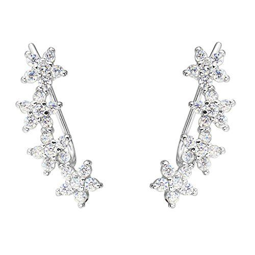 EVER FAITH 925 Sterling Silver Cubic Zirconia Hibiscus Flower Ear Sweep Cuff Hook Earrings 1 Pair Clear >>> Check out this great product by click affiliate link Amazon.com