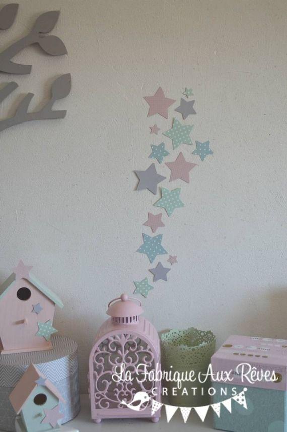 Dispo - lot 25 stickers étoiles rose poudré mint menthe vert eau gris clair