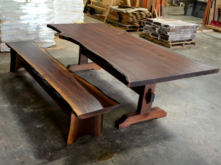 roberts trestle table in walnut with bench