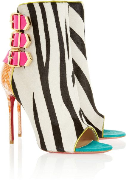 Christian Louboutin Calf Hair and Python Ankle Boots in Multicolor (zebra)