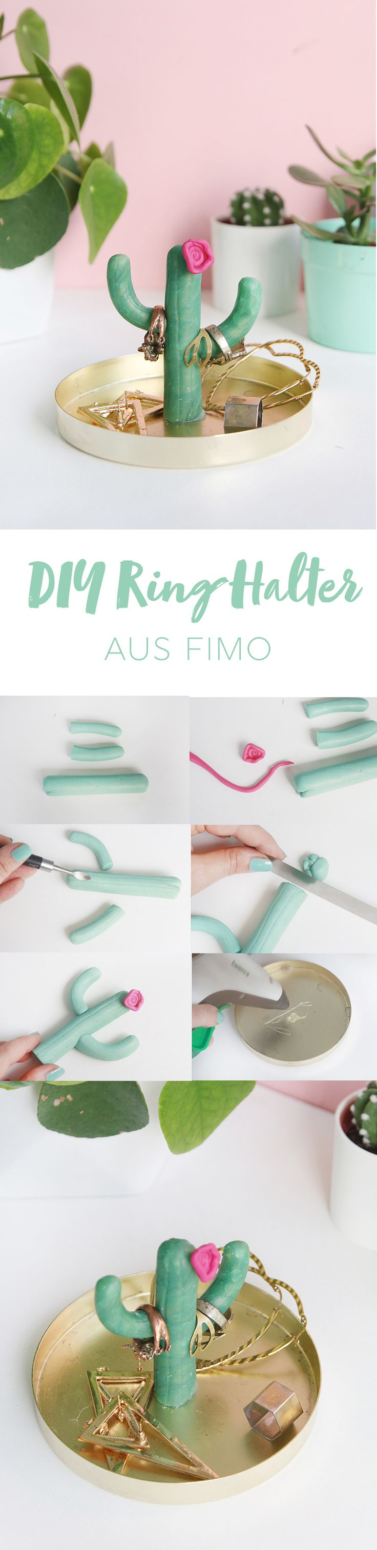 Kreative DIY Idee: Kaktus-Ringhalter selber machen aus Fimo   DIY Tutorial   DIY Anleitung   Clay   Modelliermasse