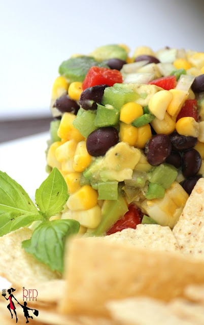 Just Like CPK's White Corn Guacamole with Chips- my version Sweet Corn Guacamole