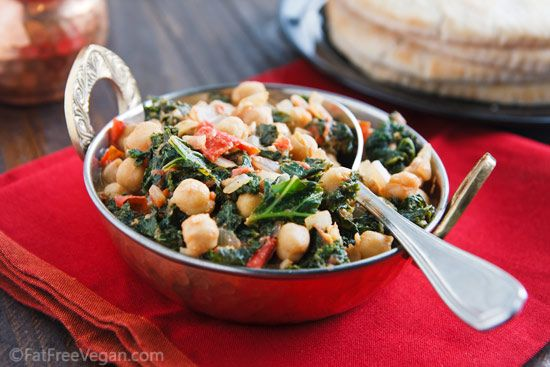 Curried Chickpeas and Kale: Live Recipe, Curried Chickpeas, Kale Recipe, Vegan Vegetarian, Healthy Recipes, Fatfree Vegan, Gluten Free Recipes, Amazingly Healthy