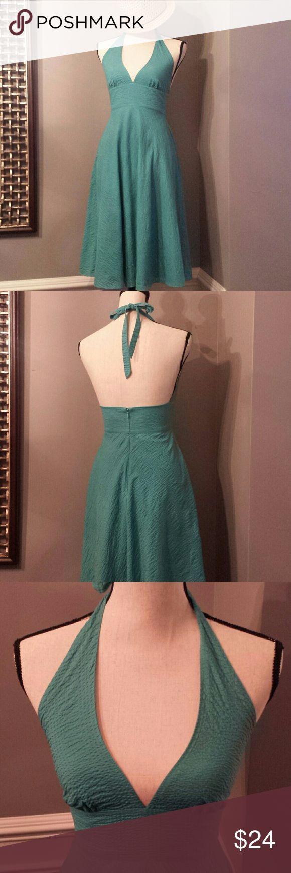 "J. Crew Seersucker Sundress Beautiful Aqua Color Perfect for a summer wedding Halter Top Deep V-Neck  26"" from natural waist to bottom  Size 2 J. Crew Dresses"