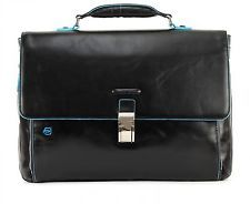 PIQUADRO Mallette Blue Square Expandable Computer Briefcase Nero