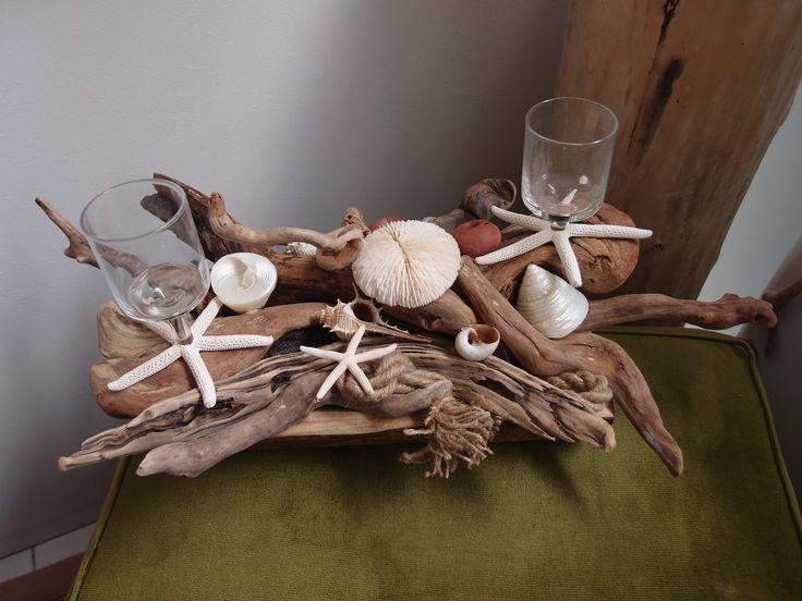 Wedding centerpieces driftwood.. βάση από θαλασσοξυλα (με ποτηρακι για κερι) για στολισμό και αρίθμηση τραπεζίων δεξίωσης γάμων.