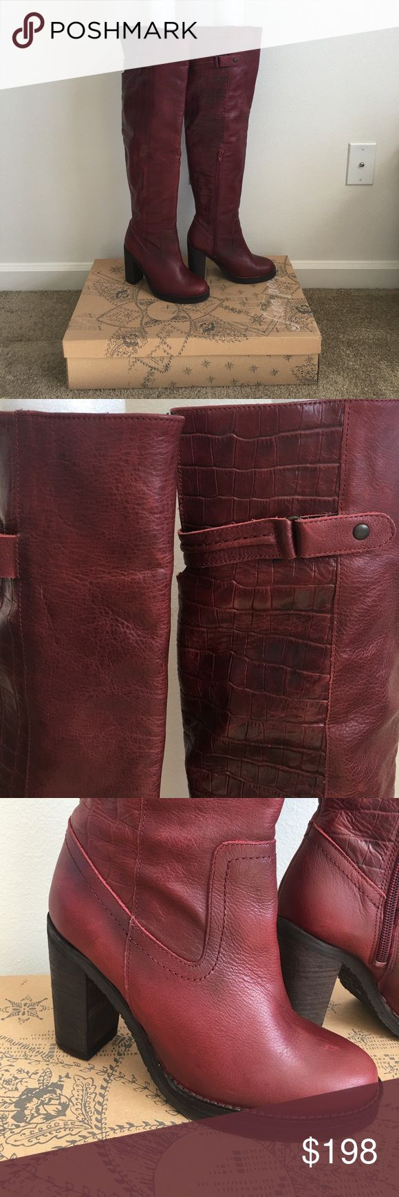 Free People Over the Knee Red Boots Gorgeous multi texture leather boots in a gorgeous deep red shade. Only worn once because they are a bit snug on me! Definitely fit tts. Come in original box. Free People Shoes Over the Knee Boots