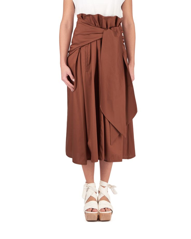 Maxi skirt with waist belt and one pocket. Made of stretch cotton, fits comfortable and wide