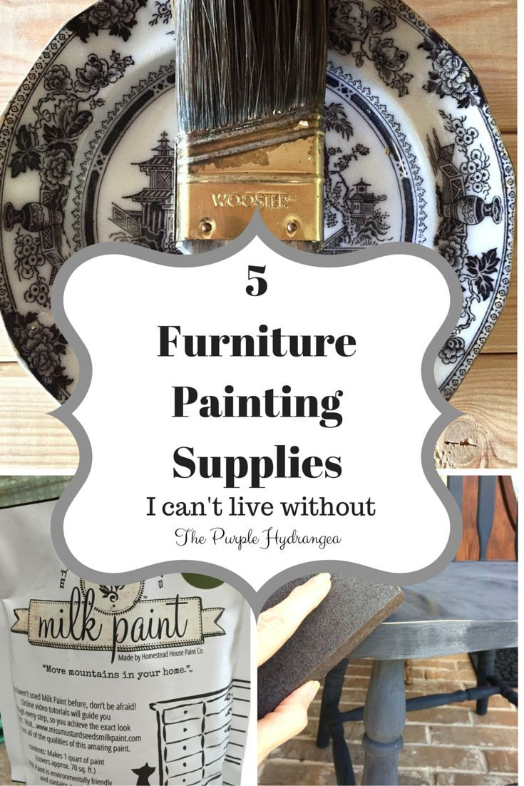 There are 5 furniture painting supplies I just can't live without! Visit www.thepurplehydrangea.net to find out what they are.
