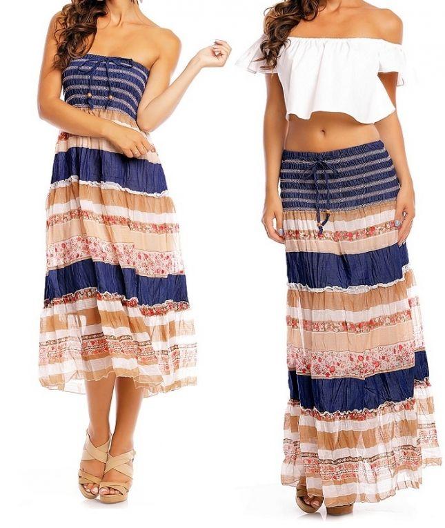 2 in 1 Ibiza rok en jurk blauw-beige  S/M, L/XL €17,50 Prachtige Ibiza bandeau jurk welke ook als maxi rok is te dragen in blauw-beige, een 2 in 1 jurk/rok maat S/M of L/XL van een soepel vallende stof.