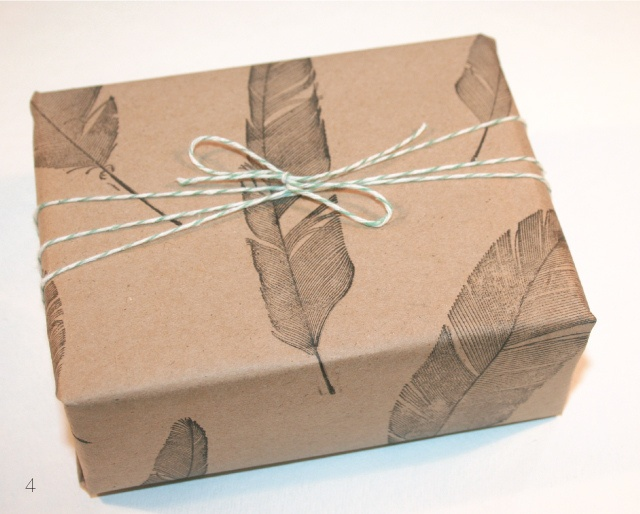 Brown Craft Paper, Rubber Feather Stamp, Twine. Pretty.